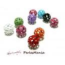 10 pendentifs perles intercalaire Ronds ajourés multicolore 14mm ref166 DIY