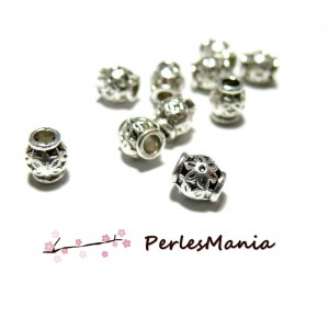 20 perles intercalaire TAMBOUR FLEUR 6.5mm ref 206 VIEIL ARGENT, DIY