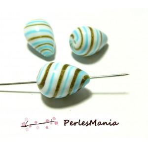 2 grandes perles en verre soufflé Goutte bleu et or spirales 22 par 15mm, DIY