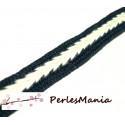 3 m ruban coton couleur CREME ET BLEU NUIT style chevron 14mm ref 145, diy