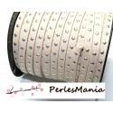 5 mètres de suédine à ETOILES rivets argentées BEIGE CLAIR H608, 5 par 2mm, DIY
