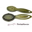 1 SUPPORT MARQUE PAGE ARTY 18 par 25 mm Bronze H3332 pour cabochon, DIY