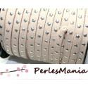 1 mètres de suédine à ETOILES rivets argentées BEIGE CLAIR H608, 5 par 2mm, DIY