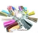 8 pompons LONG  58CM breloque passementière  suédine Multicolore ARGENT PLATINE, DIY