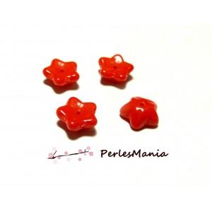 30 perles en forme de fleur en verre ROUGE, 10 par 4 mm, DIY