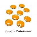 5 sequins médaillons émaillés biface rond 10mm Orange ref17