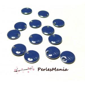 5 sequins médaillons émaillés biface rond 10mm Bleu Nuit ref25, DIY
