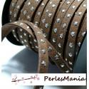 1 ROULEAU de 18 mètre de suédine à ETOILES rivets argentées MARRON H603, 5 par 2mm, DIY