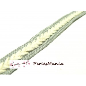 3 m ruban coton couleur CREME ET GRIS CLAIR style chevron 14mm ref 143, diy