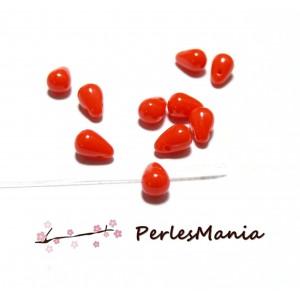 20 perles de verre mini goutte ROUGE 7 par 4 mm, DIY