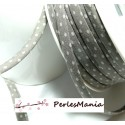 50cm ruban cordon spaghetti petit pois 7mm ref FFcollection 201 pois gris ficelle