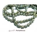 1 fil d'environ 60 perles de nacre GRIS  forme de GRAIN DE RIZ ovale 5 par 7mm ref H6Y, DIY