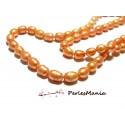 1 fil d'environ 60 perles de nacre ORANGE SAUMON forme de GRAIN DE RIZ ovale 5 par 7mm ref H6Y, DIY