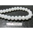 1 fil d'environ 70 perles à facettes rondelles en verre 6x8mm Blanc laiteux 2J1529