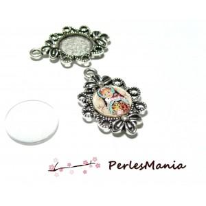 20 pièces: 10 pendentif ARTY Fleur Vintage pour cabochon ref80 VIEIL ARGENT et 10 cab en 12mm
