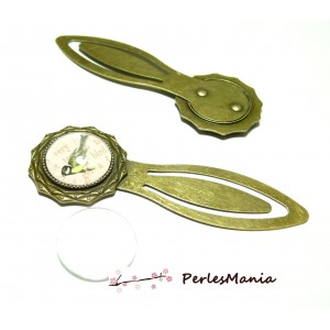 2pièces: 1 SUPPORT MARQUE PAGE ARTY 18 mm Bronze H3323 et 1 cabochon, DIY