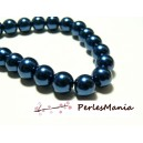 1 fil d'environ 140 perles en verre NACRE RONDE 6mm Bleu Nuit HB7211, DIY