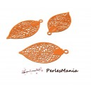 4 Estampes pendentif  filigrane FEUILLE ORANGE de 25 mm, DIY