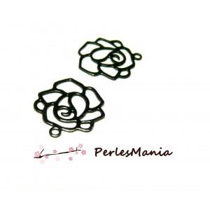 5 Estampes pendentif filigrane ROSE NOIRE de 12 mm, DIY