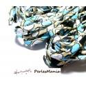 1 m ruban biais spaghetti POP ART fond Bleu clair 7mm JP006