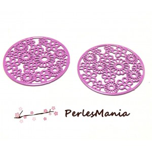 4 Estampes filigrane ROSE FUSCHIA MULTI FLEURS de 20 mm, DIY