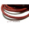 20 cm Cordon Cuir Veritable ROUGE PAILLETE 5mm H302A, DIY