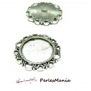 10 pendentif ARTY  Coeur  Vintage  pour cabochon en 16mm  ref185 VIEIL ARGENT