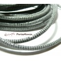 20 cm Cordon Cuir Veritable GRIS PAILLETE 5mm H302D, DIY