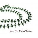1m Chaine Laiton  ARGENT PLATINE et perles de verre NOIRE DOUBLE rangée ref 152