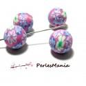 10 perles de fimo flower power ref H212Y14D en 14mm, DIY