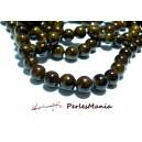 1 fil d'environ 50 perles  jade teintées MARRON rondes 8mm H271Y24