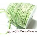 5m de cordon de suédine strass cloutée argent aspect Daim une rangée facettée vert pastel H102