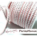 1 mètre de cordon suédine strass ARGENTE aspect Daim une rangée facettée ROSE PALE H112