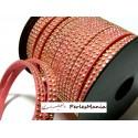 3m de cordon de suédine strass doré aspect Daim double rangée facettée ROSE Bonbon P00515