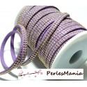 1m ruban cordon de suédine strass doré aspect Daim double rangée facettée Violet parme P00411