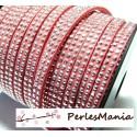 1m de cordon de suédine strass argent aspect Daim double rangée facettée Rose P00505