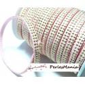 1m de cordon de suédine strass doré aspect Daim double rangée facettée Rose pale P00410