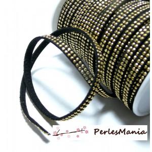 1m ruban cordon de suédine strass doré aspect Daim double rangée facettée Noir P00511