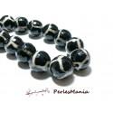 Lot 8 pieces perles Ronde facetée AGATE TIBETAINE 10mm Modèle C, DIY