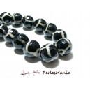 Lot 6 pieces perles Ronde facetée AGATE TIBETAINE 12mm Modèle C, DIY
