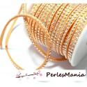 5m de cordon de suédine strass cloutée argent aspect Daim une rangée facettée Orange pastel H111