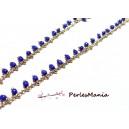 50 cm chaine Perles de rocaille  2mm BLEU  et chaine OR, DIY