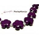 2 perles  fleurs jade teintée 5 pétales couleur violet 16mm, DIY