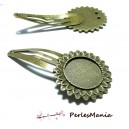 1 support de barrette clip ARTY plumes Bronze 20mm ref 109