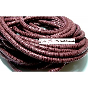 20 cm Cordon Cuir Veritable ROUGE VIN PAILLETTE 5mm H302B, DIY