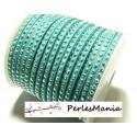 1 mètre de cordon de suédine strass  Argente aspect Daim une rangée  VERT Turquoise H114