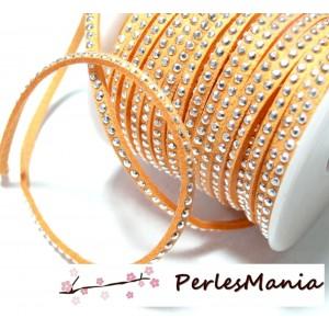 1 rouleau de 18m de cordon de suédine strass argent aspect Daim une rangée Orange pastel H111