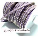 1 rouleau de 18m de cordon de suédine strass argent aspect Daim une rangée Violet H106