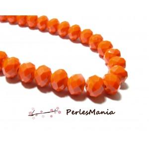 1 fil d'environ 66 perles Rondelles Verre Facettée  ORANGE 10 par 8mm Couleur 28