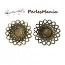 50 pendentifs bronze SOLEIL  5cm dentelle filigranés pour cabochon en 16mm S45422